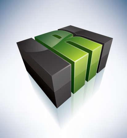 3D R green logo letter Vector