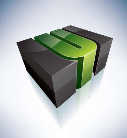 letter u: 3D U green logo letter