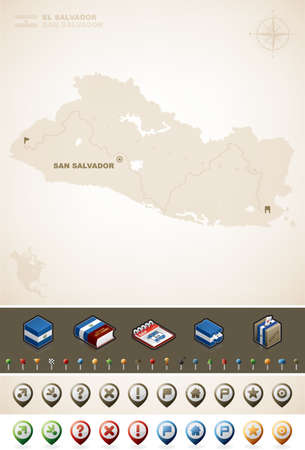 Republic of El Salvador and North America Maps Vector