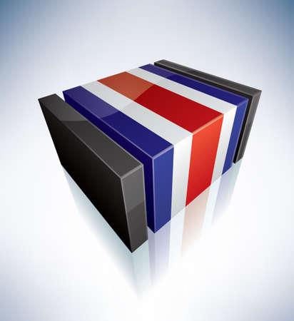 costa: Three-dimensional Flag of Costa Rica