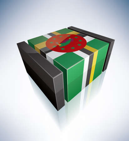 commonwealth: Three-dimensional Flag of Caribbean: Commonwealth of Dominica Illustration