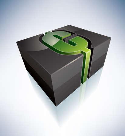 cent: 3D green symbol: american cent