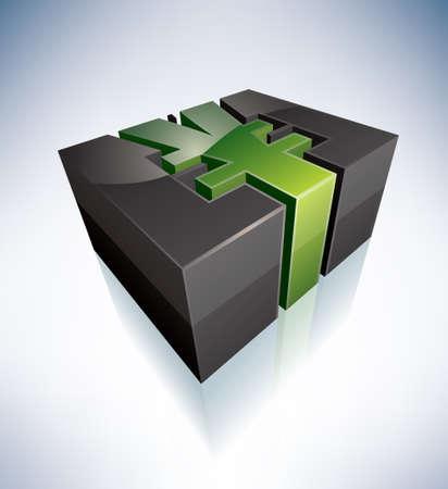 japanese yen: 3D green symbol: japanese Yen