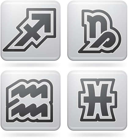 Abstract Zodiac Icons Set (part of the Platinum Squared 2D Icons Set) Vector
