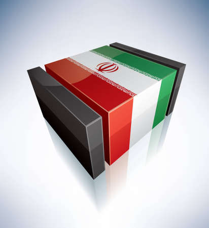 Three-dimensional Flag of Asia: Islamic Republic of Iran (part of the 3D Flags Icons Set) EPS v. 10 Vector