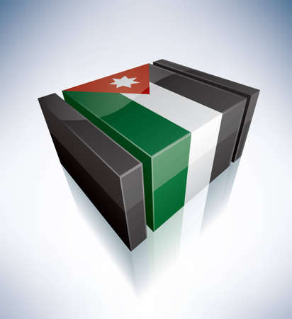the hashemite kingdom of jordan: Three-dimensional Flag of Asia: Hashemite Kingdom of Jordan (part of the 3D Flags Icons Set) EPS v. 10
