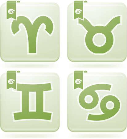 ZodiacAstrology Symbols Icons Set Illustration