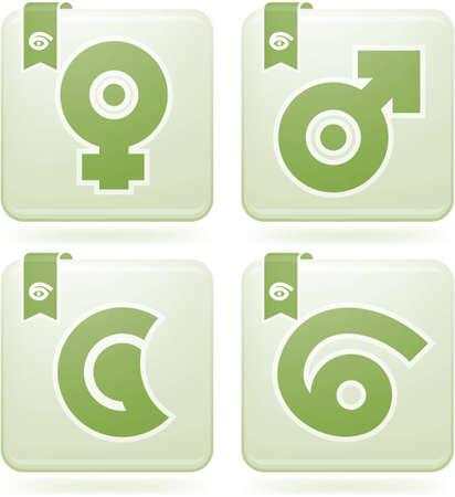 olivine: ZodiacAstrology Symbols Icons Set Illustration