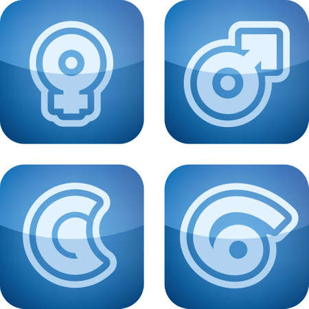 Abstract Zodiac Icons Set Vector