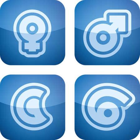 abstract aquarius: Abstract Zodiac Icons Set Illustration