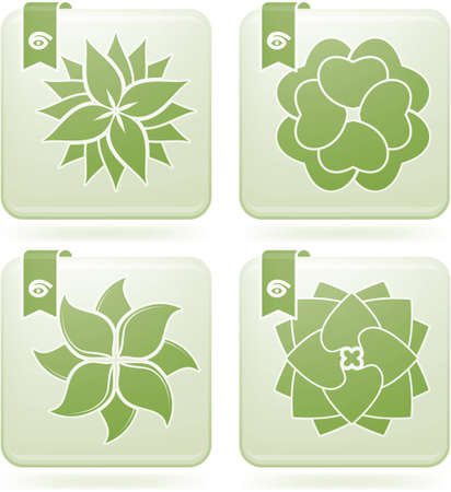 Abstract Flowers Icons Set