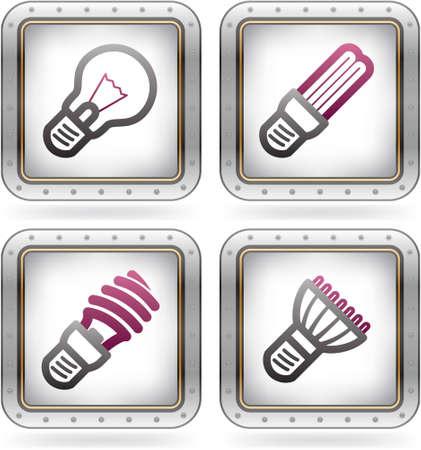 led light bulb: Office Supply Icons Set