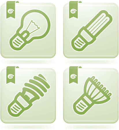 lighting bulb: Office Supply Icons Set (part of the Olivine Squared 2D Icons Set)