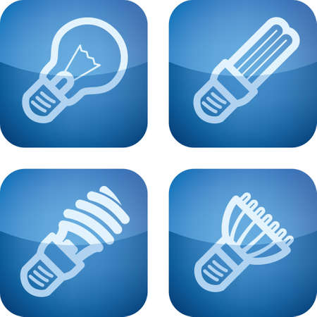 lighting bulb: Office Supply Icons Set