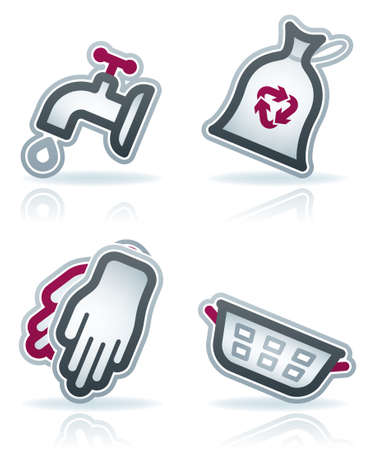 rubber glove: Cleaning theme icons set Illustration