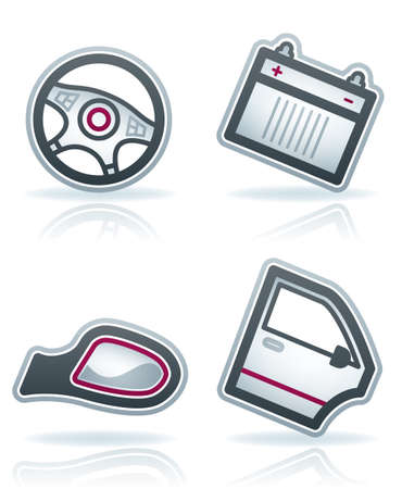 piezas coche: Partes y accesorios del autom�vil (parte del conjunto de 22 grados iconos de color azul)