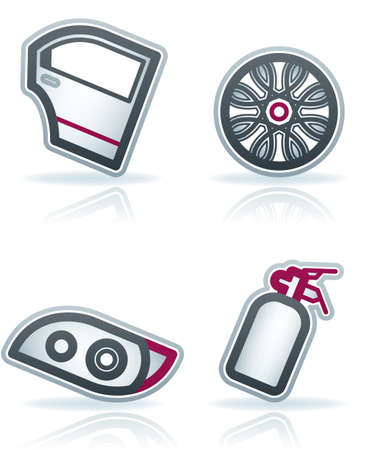 Car parts and accessories (part of the 22 Degrees Blue Icons Set) Stock Vector - 12397029
