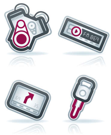 Car parts and accessories (part of the 22 Degrees Blue Icons Set) Stock Vector - 12397028