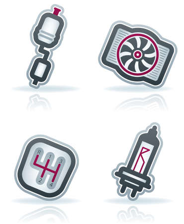 gray bulb: Car parts and accessories (part of the 22 Degrees Blue Icons Set)