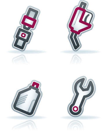 Car parts and accessories (part of the 22 Degrees Blue Icons Set) Vector