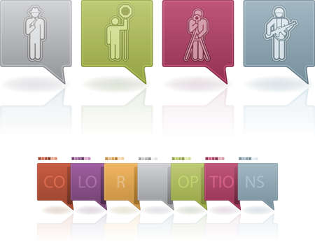 Man's occupation icons set from left to right: theft, lollipop man, photographer, warr. This artwork contain 7 color option on separate layers. (part of the 7 Pastel Colors Icons Set) Stock Vector - 12397255