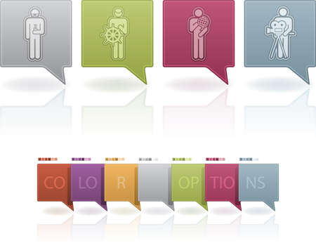 cartographer: Mans occupation icons set from left to right: chemise, sailor, scientist, cameraman. This artwork contain 7 color option on separate layers. (part of the 7 Pastel Colors Icons Set)