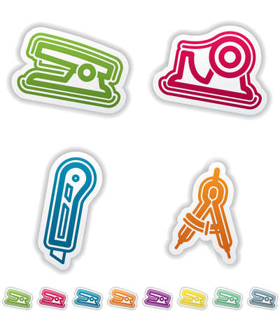 adhesive tape: Office Supply Objects: Stapler, Adhesive tape, Utility knife, Caliper. Group of four icons. All icons are part of the Green Stickers Icons Set, made in 8 different CMYK color option placed on separate layers. Illustration