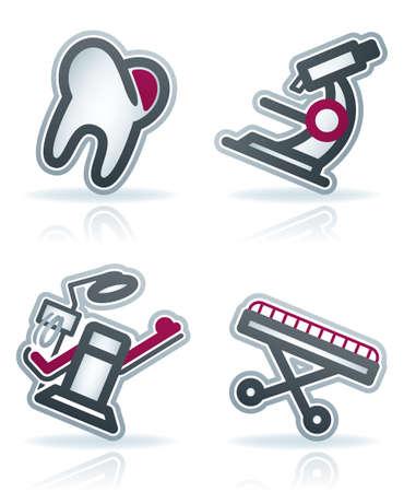 sillon dental: Salud 22 grados iconos azules