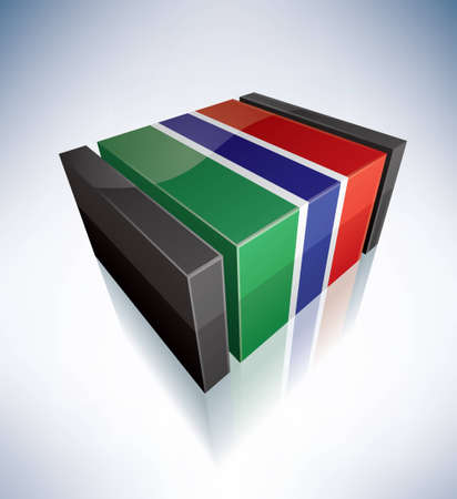 gambia: Three-dimensional Flag of Africa: Republic of The Gambia