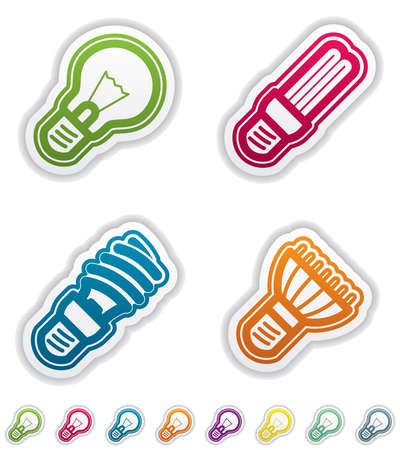 Office Supply Objects: lightbulb, fluorescent eco lightbulb,spiral fluorescent eco lightbulb, led eco lightbulb. Group of four icons. All icons are part of the &quot,Green Stickers Icons Set&quot, made in 8 different CMYK color option placed on separate l Illustration