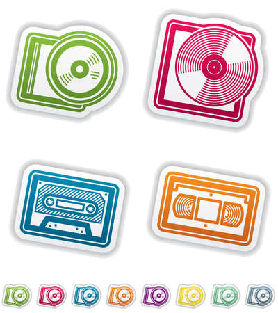 casette: Office Supply Objects: CD-ROM, Vinyl plate, Casette, Video Tape. Group of four icons. All icons are part of the Green Stickers Icons Set, made in 8 different CMYK color option placed on separate layers. Illustration