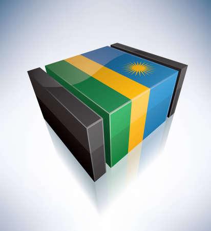 rwanda: Three-dimensional Flag of Africa: Republic of Rwanda Illustration