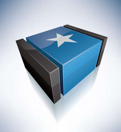 somali: Tridimensional Bandera de �frica: Rep�blica de Somalia Vectores