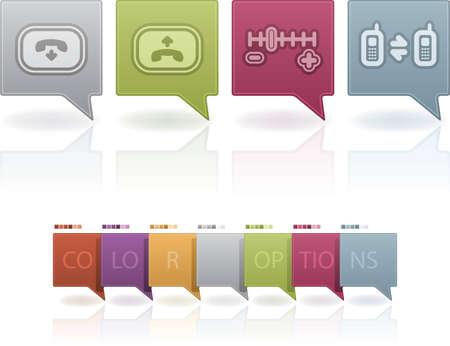 hang up: Phone display icons Illustration