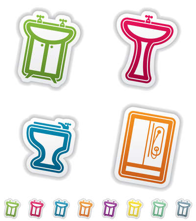 washstand: Bathroom Utensils and other related everyday things, from left to right:  Sink, Washstand, Bidet, Shower,  All icons are part of the &quot,Green Stickers Icons Set&quot, made in 8 different CMYK color option placed on separate layers