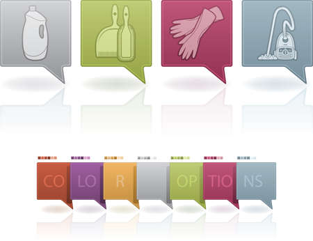 Cleaning utensils and chemistry, from left to right: Stain removal bottle, Brush floor set, Cleaning gloves, Vacuum celaner.   (This artwork set contain 7 different colors scheme placed on separate layers) Stock Vector - 13567191