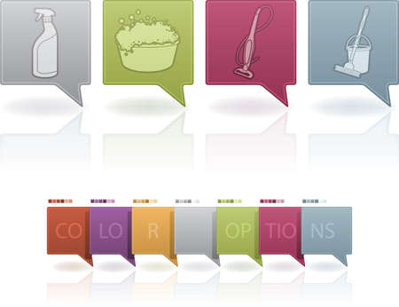 Cleaning utensils and chemistry, from left to right: Spray cleaner, Washtub, Vacuum cleaner, Mop bucket.   (This artwork set contain 7 different colors scheme placed on separate layers) Illustration
