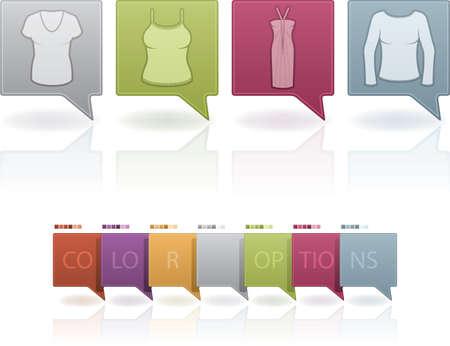 abito elegante: Icone Donna Abbigliamento tema di cui da sinistra a destra: T-shirt, camicia senza maniche, abito elegante, abito di sfera. (Quest'opera d'arte � impostato contengono 7 diverso schema di colori posizionato su livelli separati)