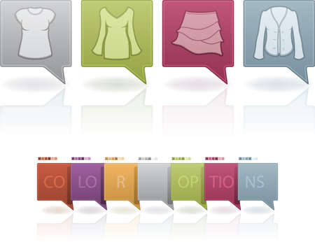 sheath: Womans Clothing theme icons set from left to right:  T-shirt, Sheath dress, Skirt, Sweater.  (This artwork set contain 7 different colors scheme placed on separate layers)
