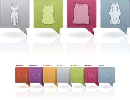 abito elegante: Icone Donna Abbigliamento tema di cui da sinistra a destra: abito di sfera, vestito elegante, gonna, abito Maxi. (Quest'opera d'arte � impostato contengono 7 diverso schema di colori posizionato su livelli separati)