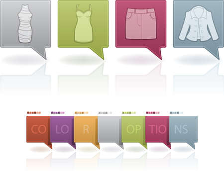 Woman's Clothing theme icons set from left to right:  Sheath dress, Wedding dress, Skirt, Jacket.   (This artwork set contain 7 different colors scheme placed on separate layers) Stock Vector - 13567196