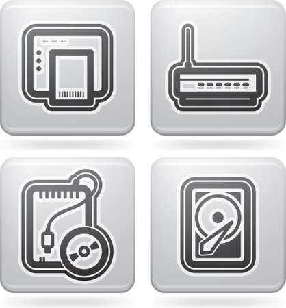 Computer parts and accessories, pictured here from left to right:  ADSL modem, Wi-Fi Router, Portable CD-ROM Drive, Internal Hard Disk Drive. All icons are part of the &quot,2D Platinum Icons Set&quot, Vector