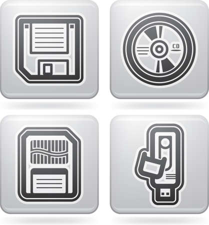 Computer parts and accessories, pictured here from left to right:  3,5' diskette, CD-ROM disk, Memory Card, Pen Drive. All icons are part of the &quot,2D Platinum Icons Set&quot, Stock Vector - 13567183