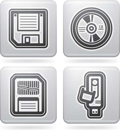 """Piezas de computadoras y accesorios, en la foto de izquierda a derecha: 3,5 """"disquete, CD-ROM, tarjeta de memoria, Pen Drive. Todos los iconos son parte de los """"Iconos 2D Establecer Platinum"""", Foto de archivo - 13567183"""