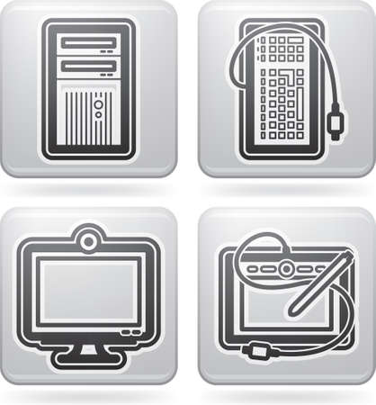 Computer parts and accessories, pictured here from left to right:  Computer Case, Keyboard, LCD Monitor, Tablet and Pen.
