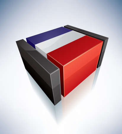 Three-dimensional Flags of Europe  French Republic Vector