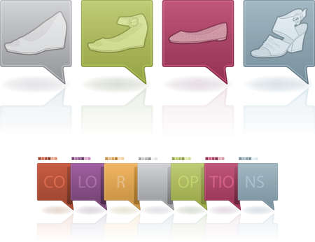 high heeled: High-helded footwear theme icons set Illustration