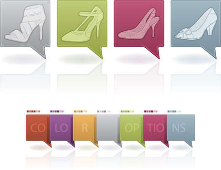 high heeled: High-helded footwear theme icons set covering all kind elegant woman