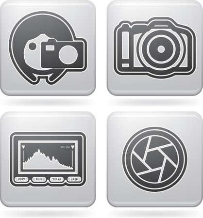 Icônes équipement photographique outils mis en Vecteurs