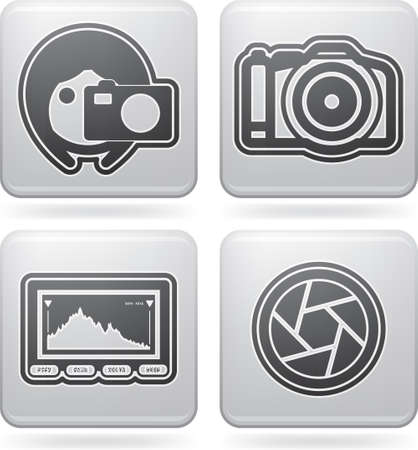 Photography tools   equipment icons set Illustration